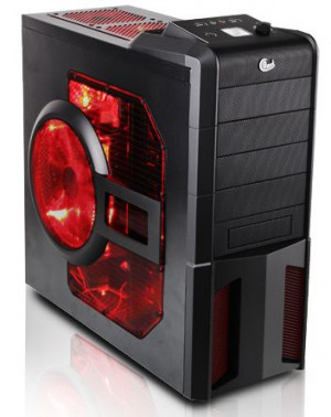 Dark Evo: 5 Kırmızı LED Fanlı Full Siyah Şeffaf Yan Panelli ATX Oyuncu Kasası