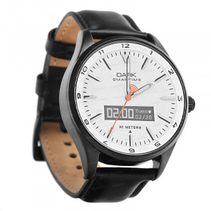 Dark SMARTIME Beyaz Kadran / Siyah Deri Kayışlı Akıllı Saat