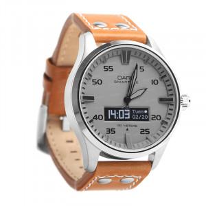Dark SMARTIME Gri Kadran / Taba Deri Spor Kayışlı Akıllı Saat