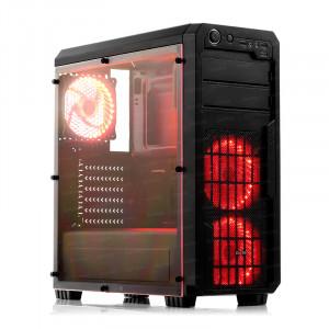 Dark Sentinel 3x Kırmızı LED Fan, USB3.0, Full Akrilik Yan Panelli Mid-Tower Siyah Oyuncu Kasası