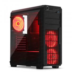 Dark Sentinel PRO 3x Kırmızı 33x LED Fanlı, USB3.0, Cam Yan Panel Mid-Tower Siyah Oyuncu Kasası