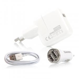 Dark Power Master Apple Lightning Kablolu 5V/2.1A Ev-Araç Şarj Cihazı Kiti