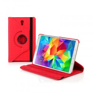 """Dark Samsung Tab S T700 8.4"""" 360 Döner Kırmızı Kılıf"""