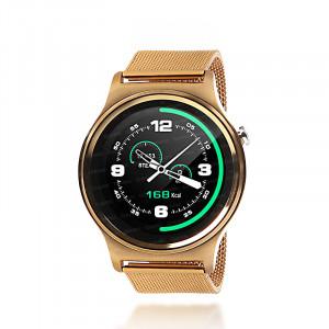 Dark SW08 Smart Design Android ve IOS Uyumlu Akıllı Saat (Altın Renkli Metal Kayış)