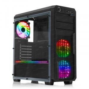 Dark Sentinel RGB Kit Fanlı, USB3.0, Full Akrilik Yan Panelli Mid-Tower Siyah Oyuncu Kasası