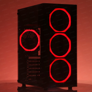 DARK Spirit USB 3.0, 5x12cm Fanlı, Solid Kırmızı LED'li , Full Temperli Cam ATX Oyuncu Kasa