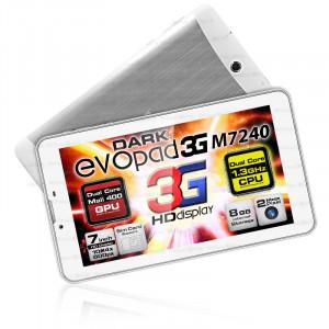 """Dark EvoPad 3G M7240 7"""" 3G SIM Girişli 1.3GHz Dual Core 8GB And 4.2 Beyaz Tablet Bilgisayar"""