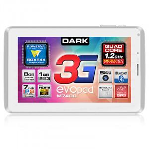 """Dark EvoPad 3G M7400 7"""" IPS SIM Girişli 1.2GHz Quad Core 1GB DDR3 8GB Beyaz Tablet Bilgisayar"""