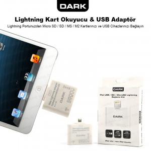 Dark iPad/mini iPad 5in1 Lightning Kart Okuyucu ve USB Kamera Bağlantı Kiti (8Pin)