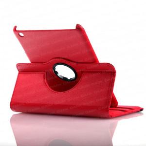 Dark i-Flip Kırmızı iPad Mini 360 Derece Hareketli Yatay / Dikey 3 Kademeli Stand veDeri Kılıf