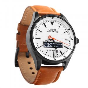 Dark SMARTIME Beyaz Kadran / Taba Deri Kayışlı Akıllı Saat