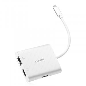 Dark 4in1 USB3.1 Type C Erkek -  USB 3.0 / HDMI (4K UHD) / Gigabit Erhernet / USB 3.1 Type C Şarj Dönüştürücü (Alüminyum Kasa)