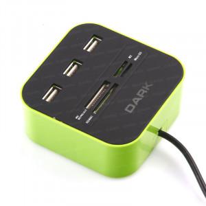 Dark UCR202 USB MicroSD/SD/MMC/M2/MS PRO DUO Kart Okuyuculu USB Çoklayıcı (Yeşil)