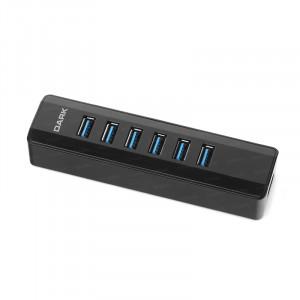Dark Connect Master U372 6X Yüksek Hızlı USB3.0 + 1X USB3.0 2.4A Hızlı Şarj Portlu Adaptörlü USB HUB