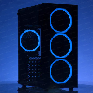 DARK Spirit USB 3.0, 5x12cm Fanlı, Solid Mavi LED'li , Full Temperli Cam ATX Oyuncu Kasa