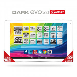"Dark EvoPad M1042 10.1"" Quadcore IPS 1GB/16GB 3G'li Beyaz Tablet"