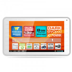 "Dark EvoPad C7028 7"" Çift Çekirdekli Mini HDMI, 8GB, Android 4.2 Beyaz Tablet Bilgisayar"