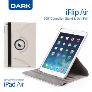 Dark iPad Air (5) Uyumlu 360 Dönebilen Kılıf / Ajanda (Beyaz)