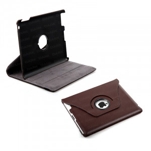 Dark i-Flip, 360 Rotation Brown Leather Cover and Stand , iPad 2/3/4 comptabile, Brown