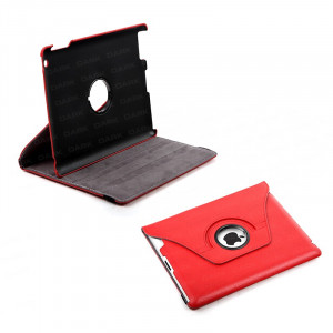 Dark i-Flip, 360 Rotation, Leather Cover and Stand, iPad 2/3/4 Compatible, Red