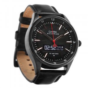 Dark SMARTIME Siyah Kadran / Deri Kayışlı Akıllı Saat