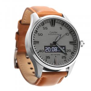 Dark SMARTIME Gri Kadran / Taba Deri Klasik Kayışlı Akıllı Saat