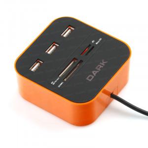 Dark UCR202 USB MicroSD/SD/MMC/M2/MS PRO DUO Kart Okuyuculu USB Çoklayıcı (Turuncu)