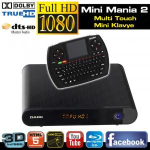 Dark Mini Mania 2 TouchPad Mini Klavye: 1080p MKV/H.264/Bluray, HalfSBS 3D, 7.1 DTS/Dolby, Internet Medya Oynatıcı