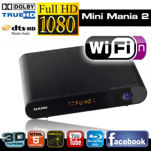 Dark Mini Mania 2 WiFi: 1080p MKV/H.264, HalfSBS 3D, 7.1 DTS/Dolby Ses, Kablosuz Ağ, Youtube, Torrent, Bluray ISO Destekli Medya Oynatıcı